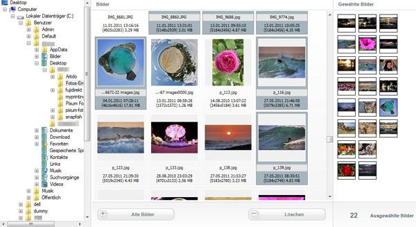 Hier werden die Bilder für das Fotobuch ausgewählt.