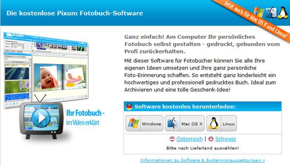 Die Pixum Fotobuch-Software muss zum Erstellen eines Fotobuchs heruntergeladen werden.