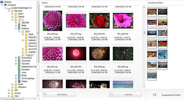 Die Bildauswahl in der Software