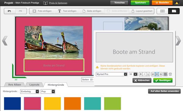 Bildunterschriften können durch Textfelder hinzugefügt werden.