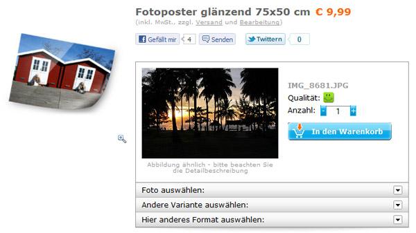 Das hochgeladene Foto erscheint als Vorschau im Browserfenster.