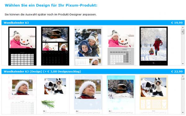 Dem Kunden stehen zur Gestaltung des Kalenders verschiedene Desings zur Wahl.