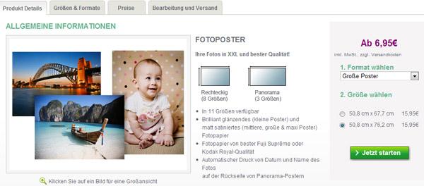 In der rechten Spalte kann die Größe des Fotoposters ausgewählt werden.