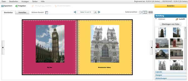 Position von Bild und Text sind durch das Layout vorgegeben.